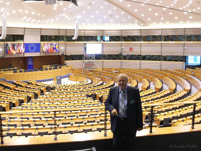 Tomáš Pfeiffer in the European Parliament in Brussels 16 October, 2017. Photo KoS.